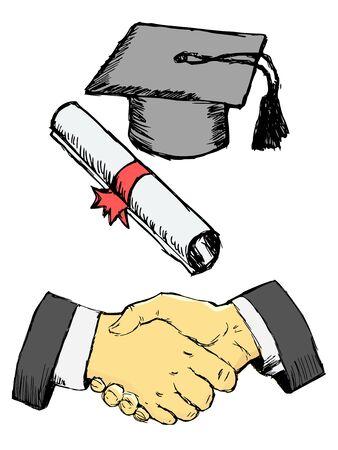 Congratulation with education degree. Handshake, diploma and professor hat. Motives of school, university, profession. Hand drawn, sketch image