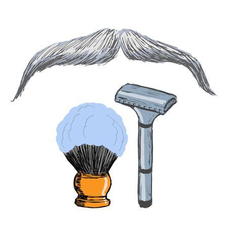 Barbershop-Motiv. Rasiermesser, Schnurrbart, Rasierpinsel. Alltagspflege, rasieren. Hand gezeichnet, Vektor, colores Illustration