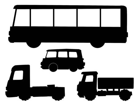 Set of silhouettes with kinds of road transportation. Long bus, cargo car, micro bus, truck tractor. Side view