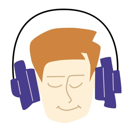 Portrait of boy, enjoying music in headphones. Cartoon style. Motives of entertainment, music, listening, audiobooks