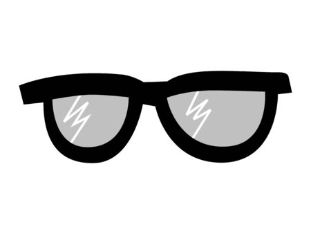 Glasses for people with poor eyesight. Vector, monochrome, grayscale illustration. Front view. Motives of optics, objects, everyday life, healthcare