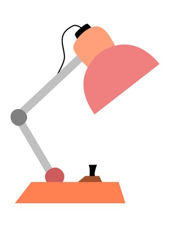 Coloured, vector illustration of construction table lamp. Simple, cartoon style. Side view. Motives of education, everyday life, working place, lighting, interior, architecture