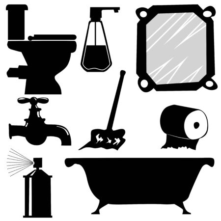 Set of silhouettes of bathroom items. Topics of toilet, hygiene, daily care, interior, home objects, domestic life, cleaning and clearing, water usage, apartment in new building, hotel rest