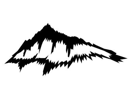 Vector, black silhouette of mountain. Motives of travels, landscape, sport, alpine, camp, nature, climbing, adventure, tourism, environment