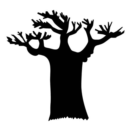 Vector, black silhouette of baobab. Motives of Africa, exotic travels, wildlife and nature