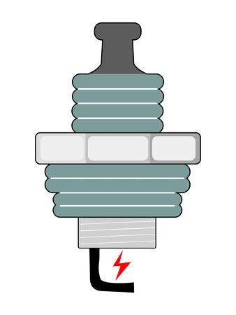 Vector, colored illustration of spark plug, device for delivering electric current from ignition system. Motives of automobile, sport, technology, speed, fixing and repair, spare parts, workshop Foto de archivo - 134784995