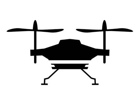 Vector silueta negra de drone quadcopter en blanco. Vista lateral. Motivos de videografía, transporte, vuelo, vehículo aéreo, tecno, artilugios, objetos de tecnología moderna, fotografía capturada desde el aire Ilustración de vector
