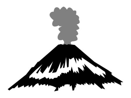 Vector, silueta negra de volcán activo y explosivo. Motivos de poder de la naturaleza, peligro, viajes.