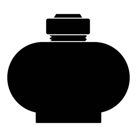 Vector, black silhouette of flask for beverages on white background. Side view. Motives of drinking, everyday and emergency objects