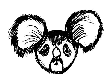 Vector, hand drawn, sketch, cartoon illustration of koala. Motives of Australian nature, wildlife, animals