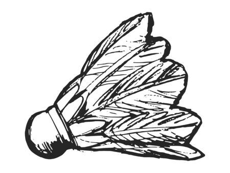 Vector, hand drawn illustration of badminton shuttlecock. Motives of outdoor sport games, style of life, physical activity Ilustracja