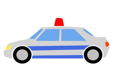 Simple, vector, colored illustration of a police car. Side view. Motives of police service, security, transport, city life, crime Illustration