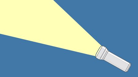 Flashlight from which a ray of light comes out. Concept of electrician equipment, led light, portable tools. Technology, touristing and everyday object. Vector, cartoon illustration