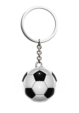 ball and chain: 3d rendered keychain with soccer ball on white background Stock Photo