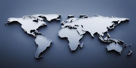 3D render world map Stock Photo