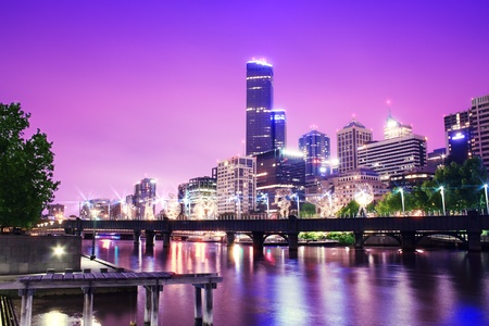 Night Urban City Skyline  Melbourne  Australia