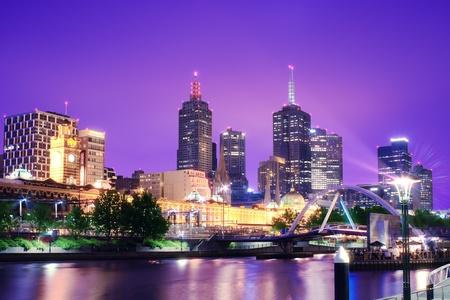Nacht Urban City Skyline Melbourne Australien