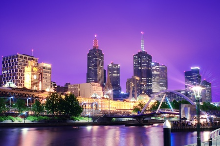 city living: Night Urban City Skyline  Melbourne  Australia
