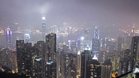 skyline of Hong Kong city from Victoria peak Stock Photo