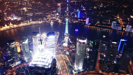 bird s eye: Bird s eye view of Shanghai Pudong at night