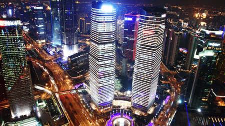 business district: Bird s eye view of Shanghai at night