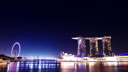 Singapore skyline at night Editorial