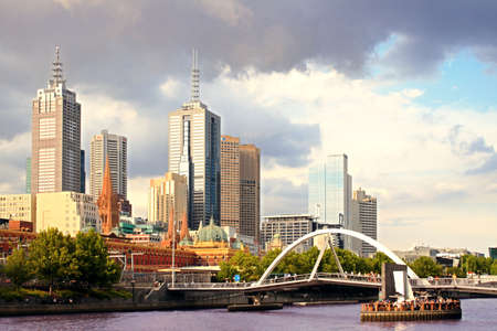 Beautiful view of Melbourne city at sunset photo