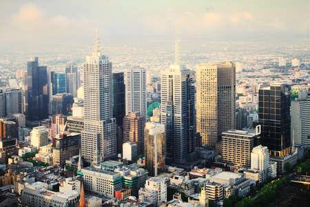rascacielos: Hermosa vista de la ciudad de Melbourne al atardecer