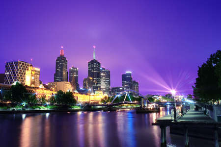 city living: Night Urban City Skyline. Melbourne. Australia