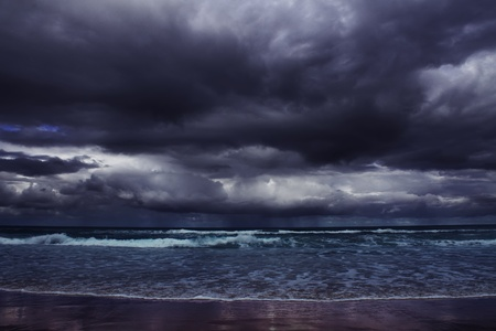 over the horizon: storm on the sea Stock Photo