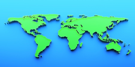 3D render world map photo