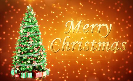 Merry Christmass Postcard with Firtree on Red Background Stock Photo