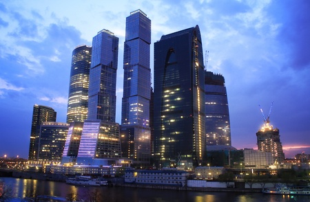 Skyscrapers at Evening  Moscow  Russia photo