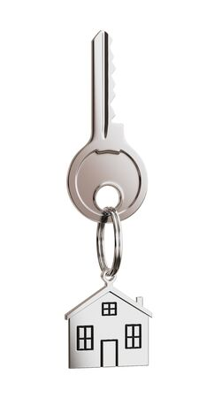 House shaped keychain isolated on white background Stock Photo - 13552896