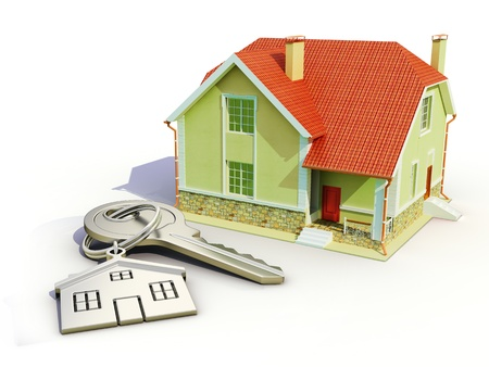 downpayment: House and house keys on white background