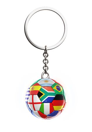 3d rendered keychain with soccer ball on white background Stock Photo