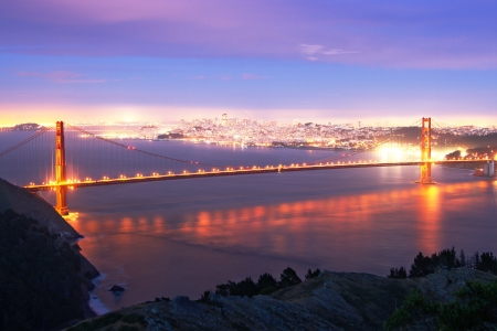 Golden Gate bridge at evening photo