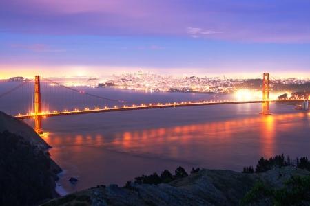 Golden Gate bridge at evening