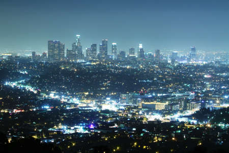Los Angeles at night, top view photo