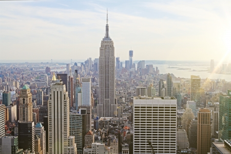 New York at sunset, top view Stock Photo