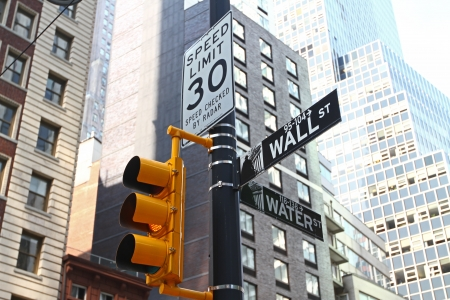 wall street sign in New York Stock Photo