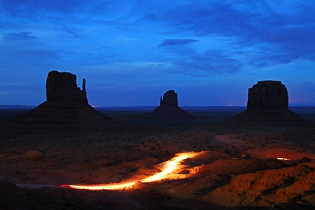 monument valley panorama  at night