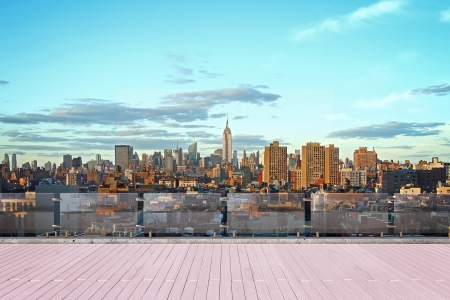 New York city skyline at sunset city view from roof