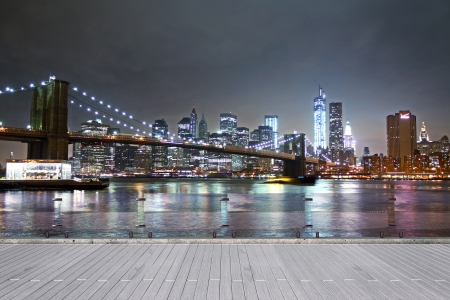 New York city view from pier at night