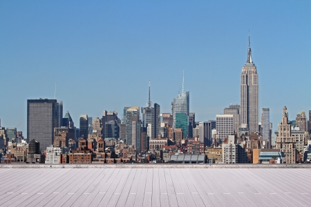 New York city skyline panorama at daytime view from roof Stok Fotoğraf