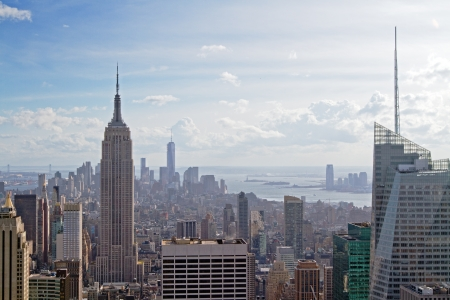 beautiful view of New York city at sunset Stock Photo