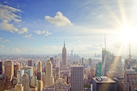 beautiful New York skyline at sunset Stock Photo
