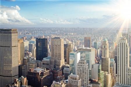 abstract urban skyline at sunset. New York city