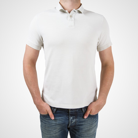 shirt template: man in white polo t-shirt on a white background Stock Photo