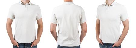 white sleeve: three man in white polo t-shirt on a white background
